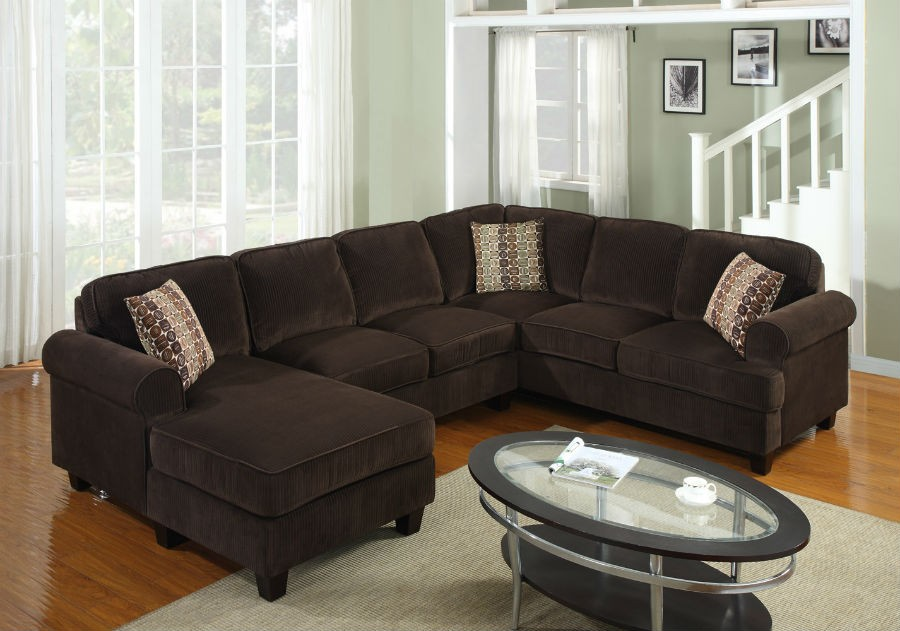 More Views : chocolate corduroy sectional - Sectionals, Sofas & Couches