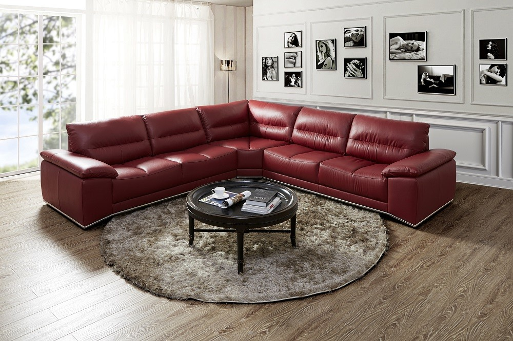 Burgundy Premium Leather Sectional Mi Star Modern Furniture