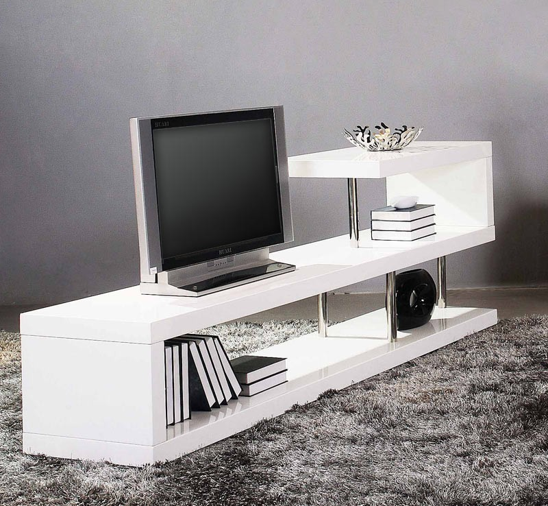 WIN 5 Modern White Lacquer TV Stand Entertainment Center