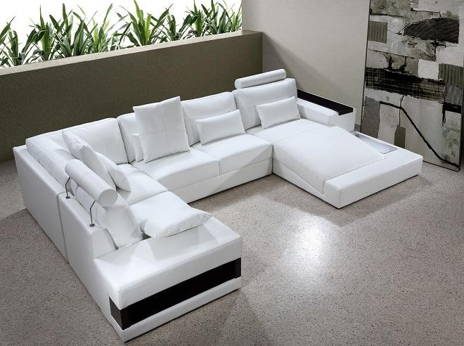 Milan White Leather Sectional Ge Sectionals