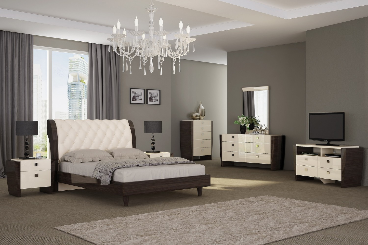 milan bedroom set beige wenge star modern furniture 16439 | paris enl